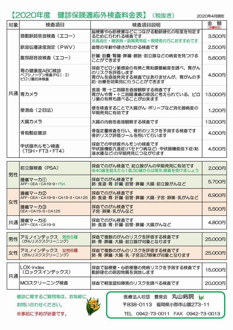 健診料金表2020